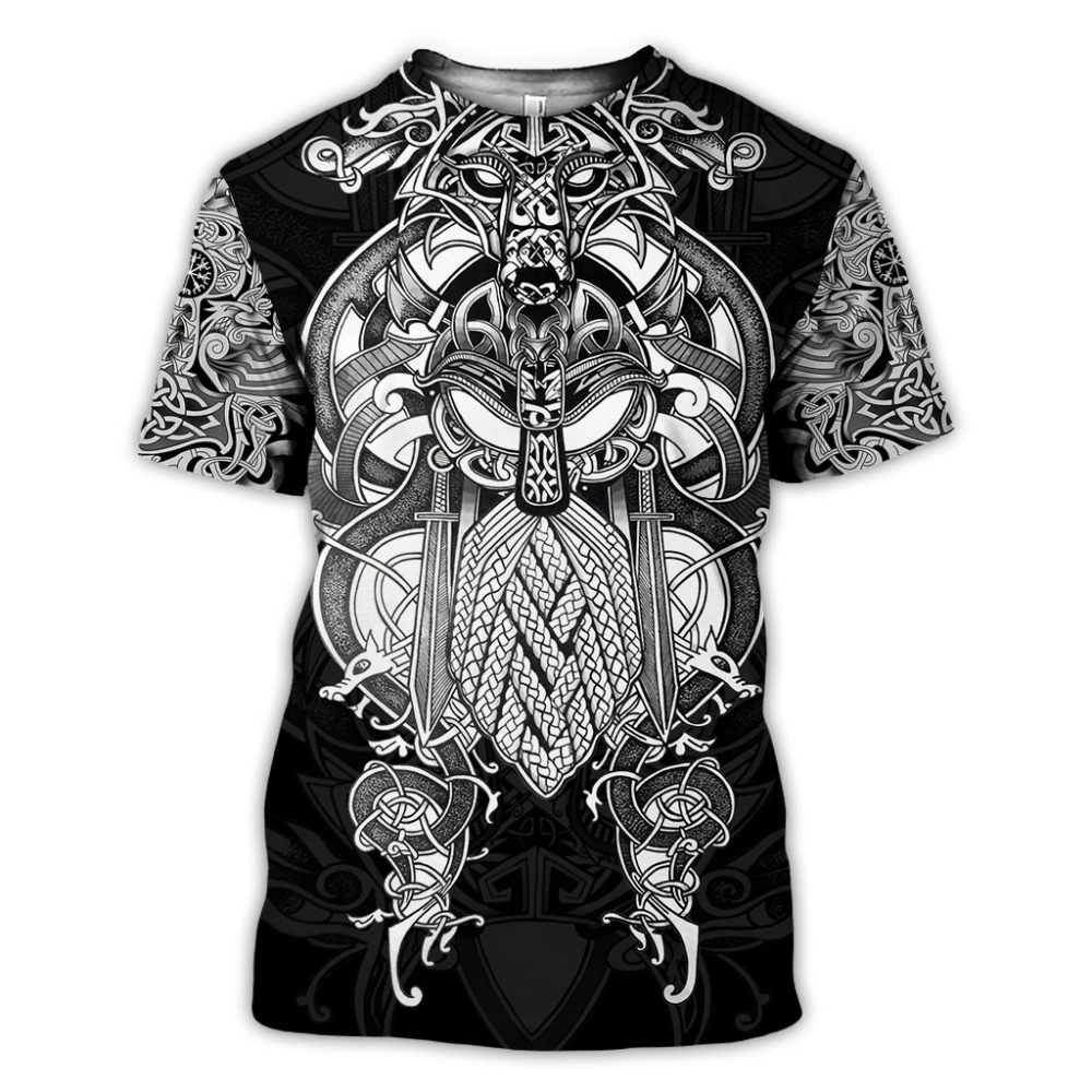 2020 New Fashion Men hoodies 3D Printed Viking Tattoo t shirt tees shorts sleeve Apparel Unisex Norse cosplay streetwear-6 1