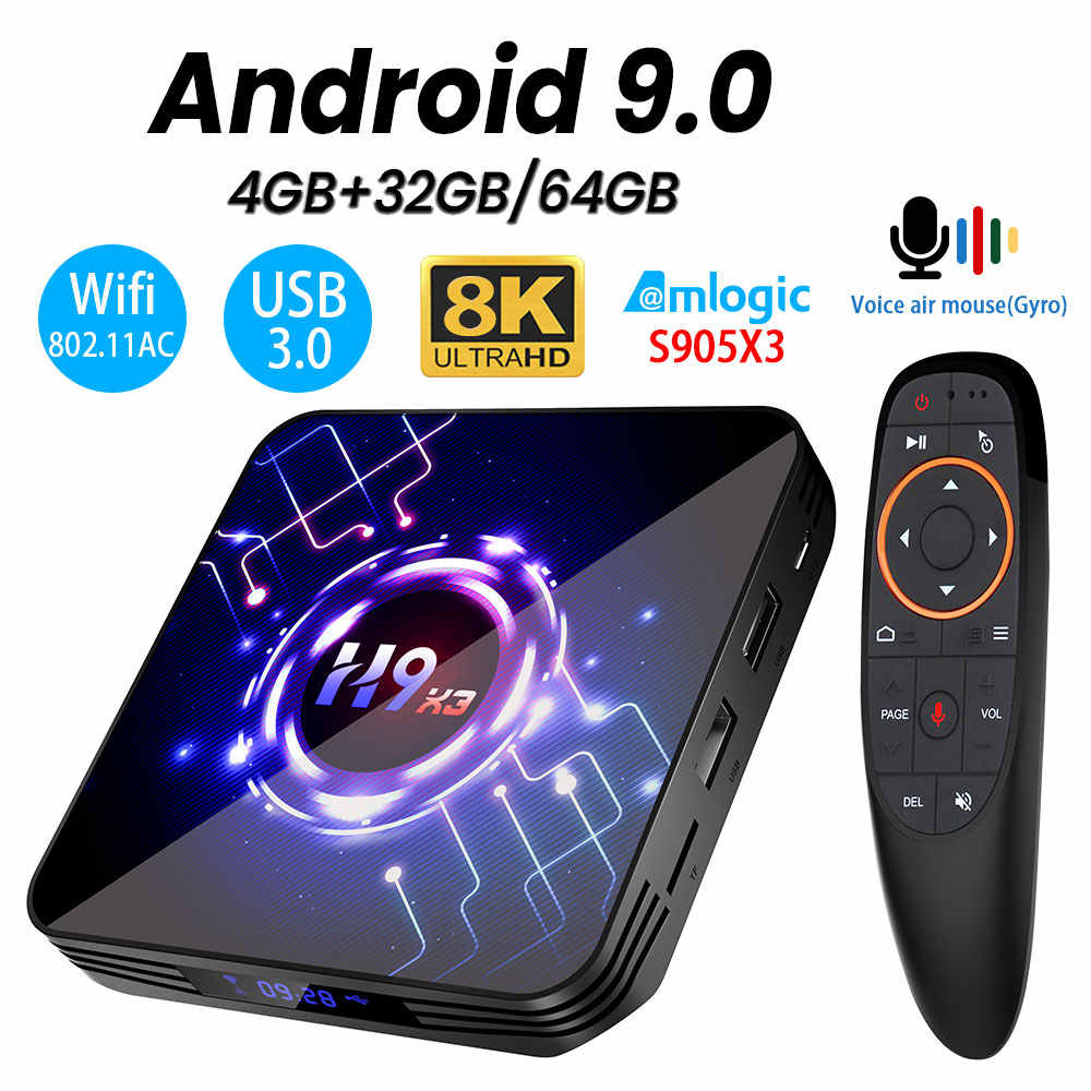 Transpeed H9 X3 9.0 8K 4K TV Box 4GB 64GB 32G Ultra HD HDR 5G 1000M Wifi Amlogic S905X3 YouTube Sangat Cepat TV Box