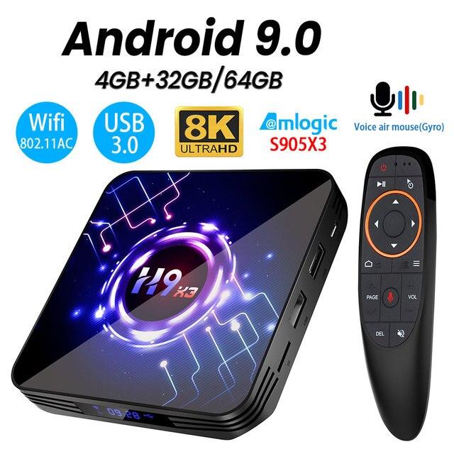 וtranspeed H9 X3 אנדרואיד 9.0 8K 4K טלוויזיה תיבת 4GB 64GB 32G UltraHD HDR 5G 1000M wifi Amlogic S905X3 Youtube מאוד מהיר טלוויזיה תיבה