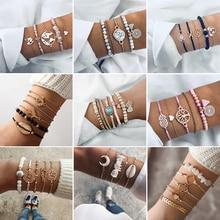 Модный Смешанный Набор браслетов богемные Многослойные браслеты из бисера браслеты для женщин Винтажная бусина подвеска Бохо ювелирные изделия вечерние подарки