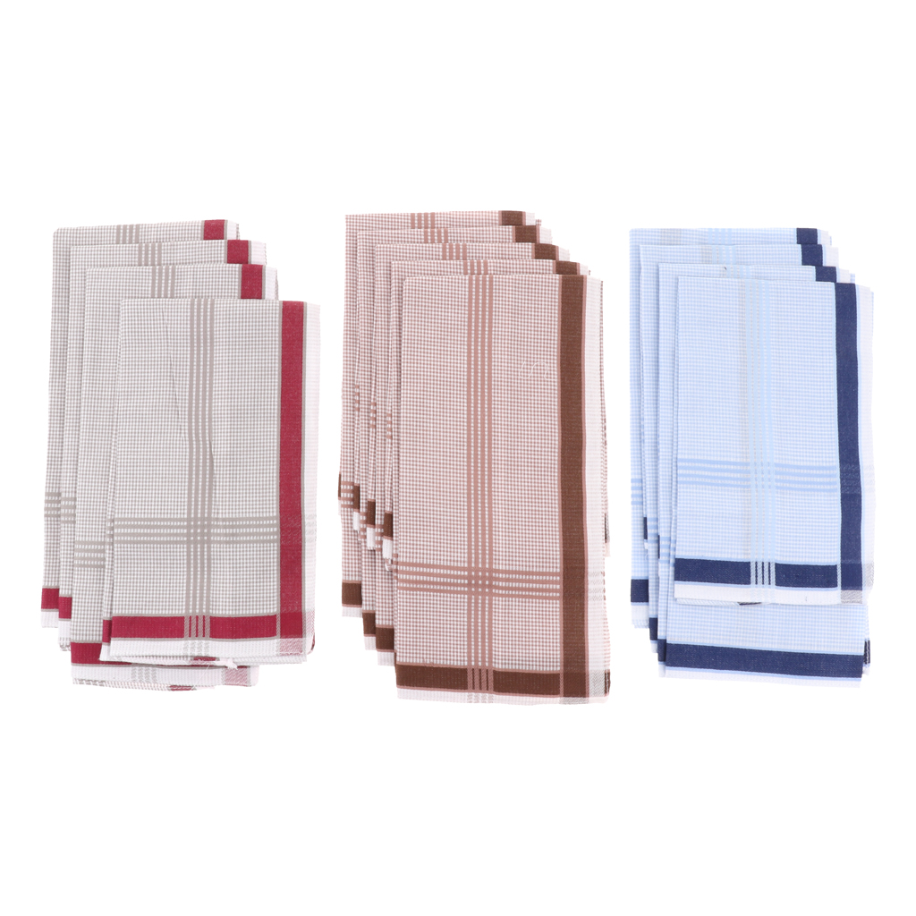 12pcs Men Vintage Striped Handkerchief Pocket Square Wedding Party Soft Cotton Hanky