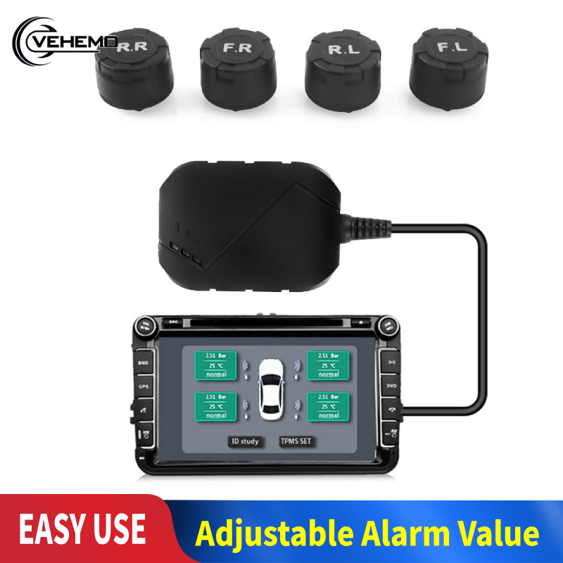 Moniteur de pression de pneu de voiture USB Android TPMS 4 capteur externe 116psi surveillance système d'alarme Transmission sans fil TPMS pour DVD