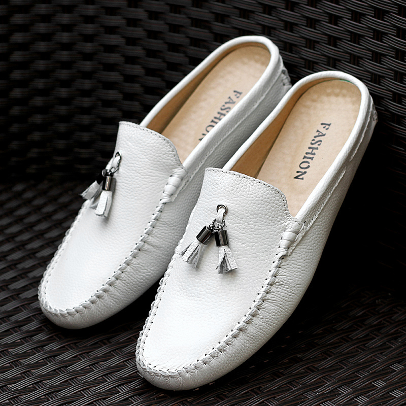 Tassel Half Shoes For Men Summer Genuine Leather Loafer Slip-On Slippers Casual Backless Driving Loafers For Man Mule Masculino