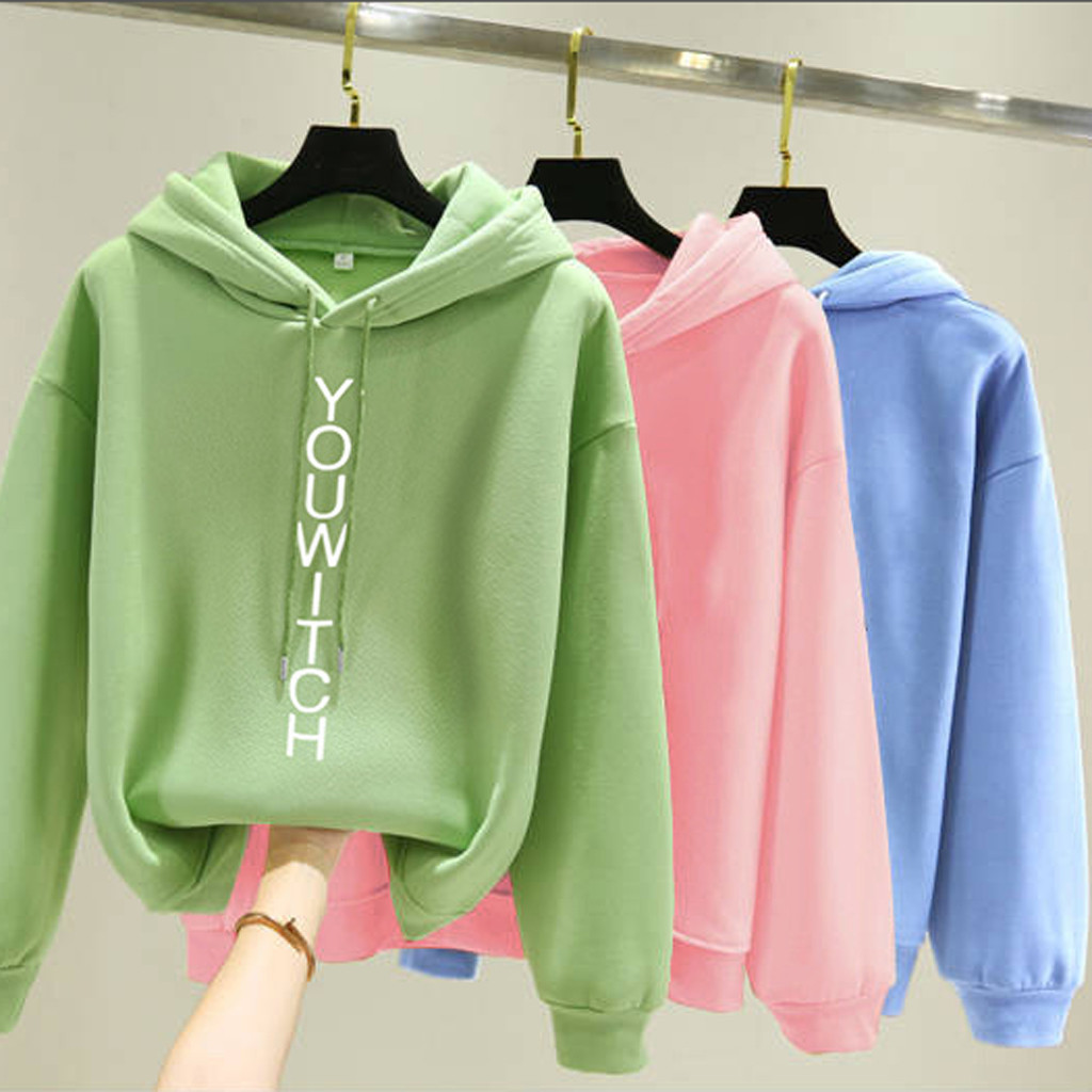 Women Fleece Hoodie Sweatshirts Autumn Winter Letter Print Fashion 2020 Oversized Solid Casual Long Sleeve Pullovers Female Tops