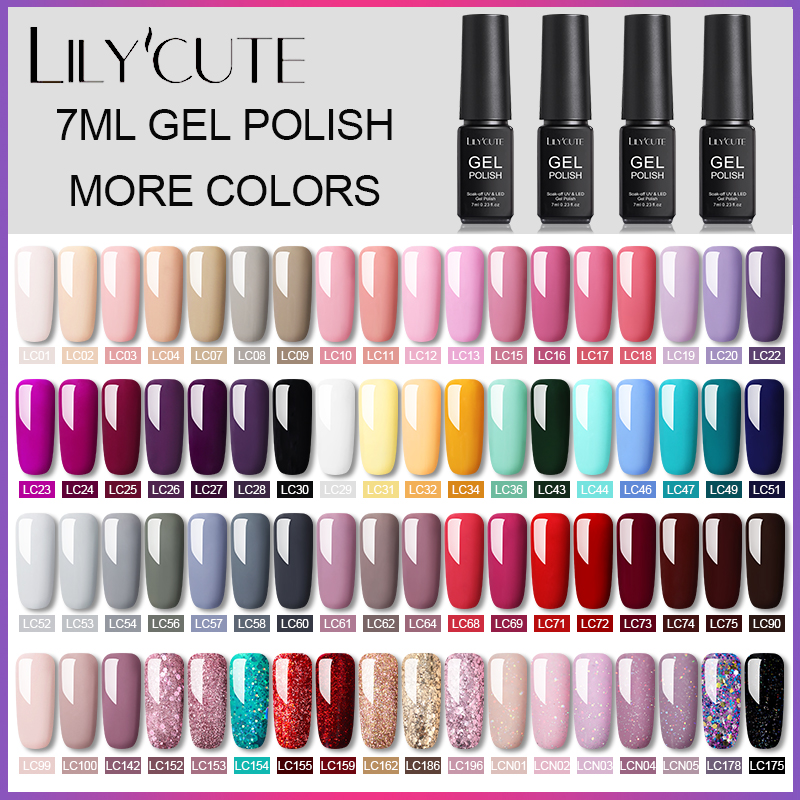 LILYCUTE Gel Nail Polish Hybrid Varnishes Semi Permanent Soak Off UV Gel UV Led Gel Polish Base Top Coat Gel Nail Design 7ml