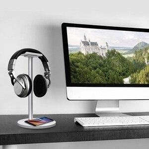 Image 5 - Besegad kulaklık kulaklık kulaklık askı tutucu standı raf w/ QI kablosuz şarj Mat Samsung S8 artı S7 S6 kenar not 5