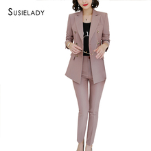 SUSIELADY Women Pant Suit Notched Blazer Jacket &