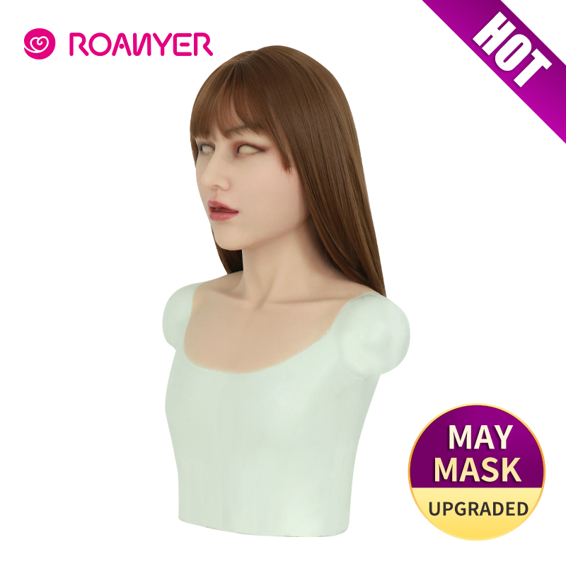 Roanyer silicone artificiel réaliste long cou mai masque pour crosscommode halloween transgenre transexuelle sexy cosplay