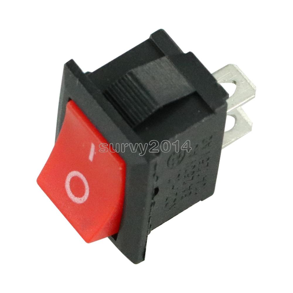 10pcs NEW Red Rocker Switch 2 Pin KCD1-101 250V 6A Boatlike Switch