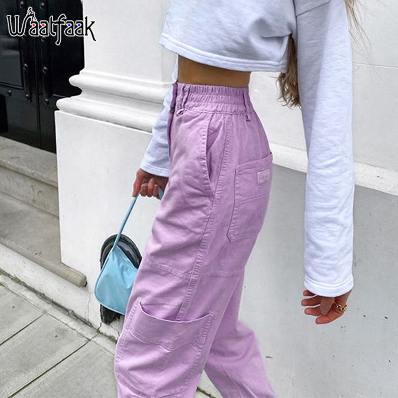 Waataak Casual Womens Joggers Purple Cargo Pants High Waist Fitness Pocket Streetwear Hip Hop Capris Pants Women Baggy Summer