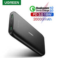 Ugreen power bank 20000 mah carregador de telefone rápido carga rápida 4.0 qc3.0 bateria externa portátil para iphone 11 xiaomi pd powerbank