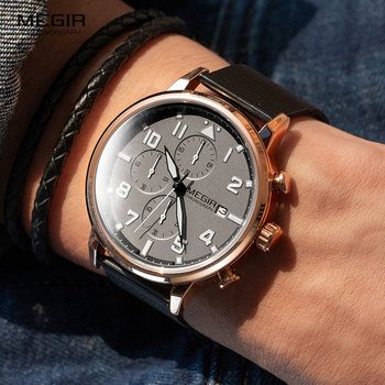 MEGIR 2020 New Fashion Mens Watches Top Brand Luxury Stainless Steel Sports Chronograph Quartz Watch Men Relogio Masculino 2157
