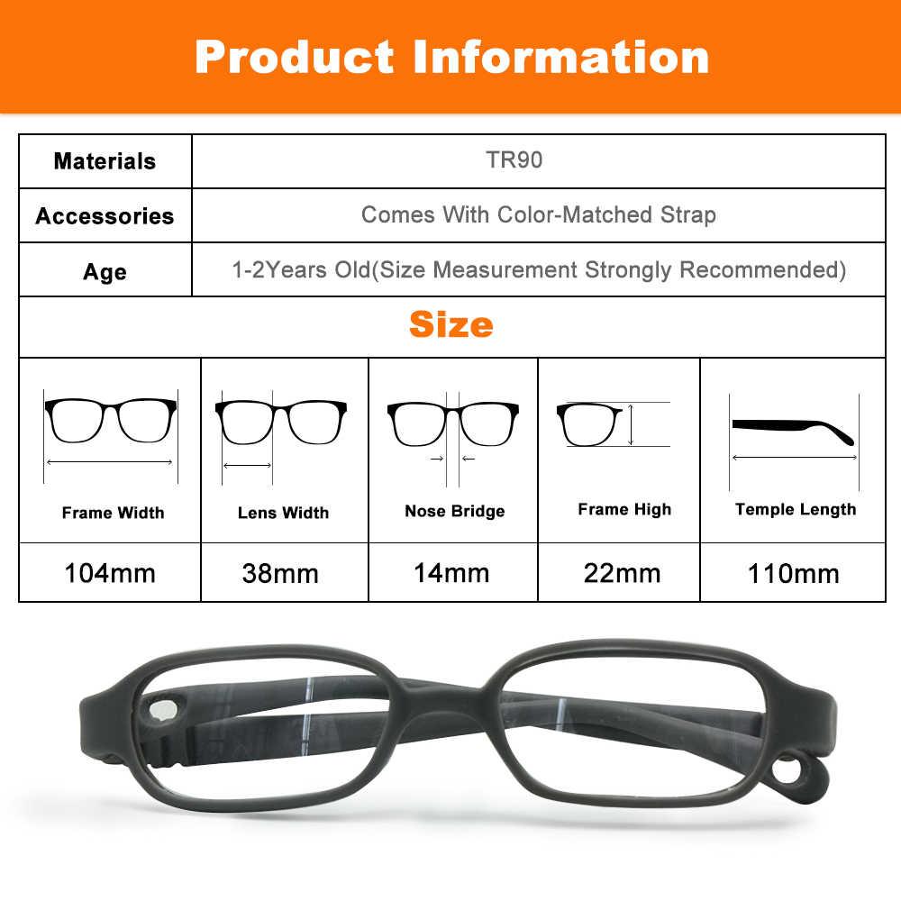 Montura óptica para niños y niñas, tamaño 38/14, Sin tornillo, gafas para bebés, montura de gafas de niño segura y duradera