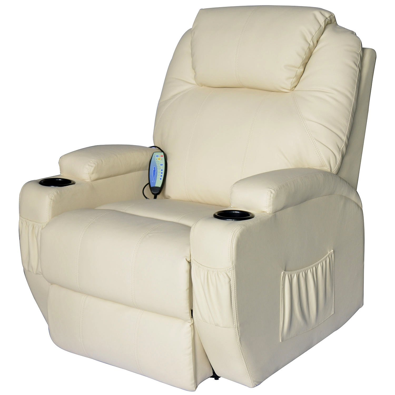 HOMCOM Relaxing Chair Recliner Massage To 8 Points With Heating 92x84x109 Cm Cream