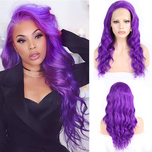 Charisma Long Wavy Wig Heat Resistant Fiber Hair Synthetic Lace Front Wig Side Part Lace Wigs for Women Purple Cosplay Wigs