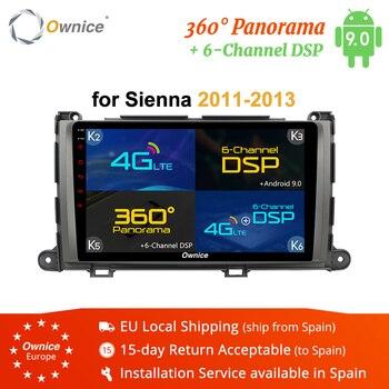 Ownice K1 K2 K3 K5 K6 2DIN Android 9,0 de 360 Panorama DSP 4G que reproductor de DVD del coche GPS Navi para TOYOTA Sienna 2011-2013 Radio Estéreo