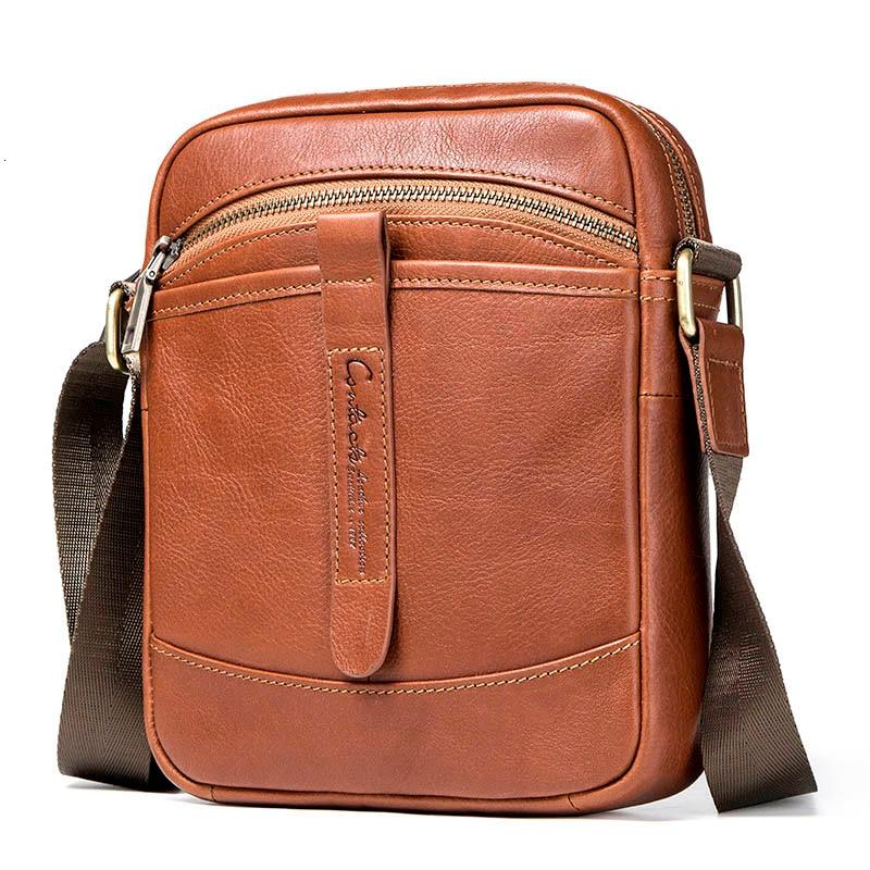 Vintage Men Briefcase Small Men's Messenger Bag Genuine Leather Shoulder Bags For 7.9