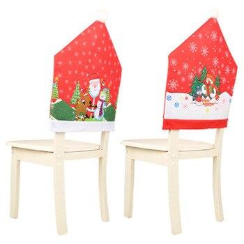 Tapa trasera de la silla de Papá Noel, muñeco de nieve, fiesta de navidad, hogar, cocina, decoración de cena