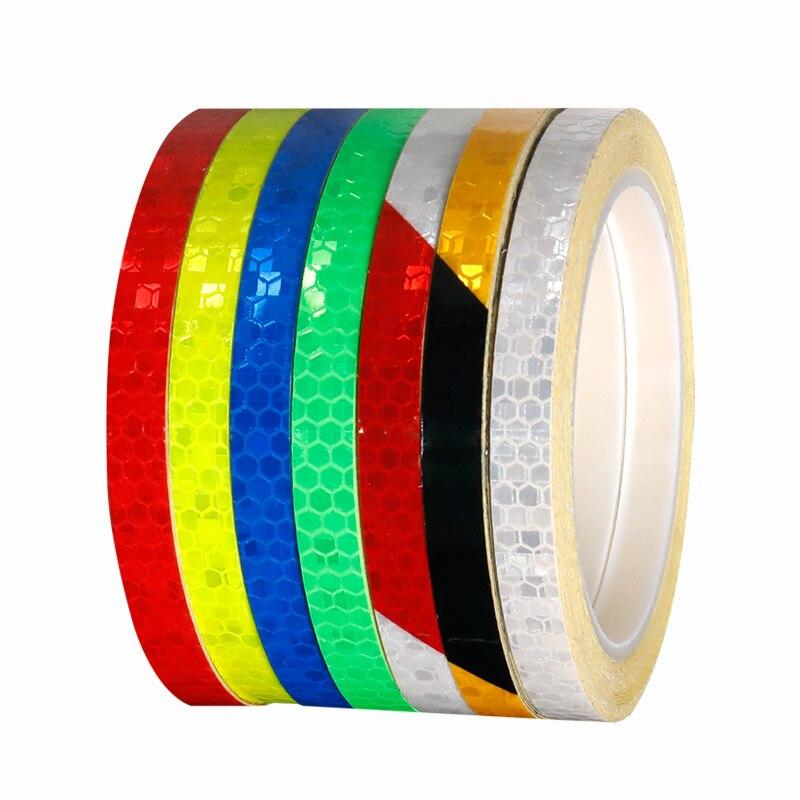 Bicycle Light Reflective Sticker 8M*1CM Light Sensitive Straight Strip Reflector Visual Warning Figments Safe Bike(China)