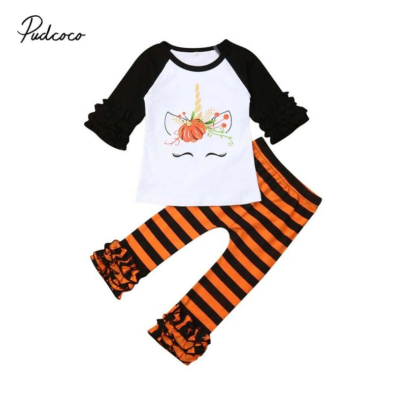2019 Brand Toddler Kids Baby Girl Floral Top T-shirt Long Pants Leggings Outfit Set Clothes Pumpkin Print Ruffle Costume Clothes