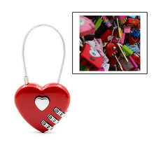 4 Color Heart Shaped Padlock 3 Dial Digit Password Lock Luggage Double Mood Love Travel Gift