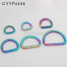 10-30-100pcs 7 tamanho 10-14-15-20-25-32-38mm arco-íris aberto d anel de fivela de cinto de metal d anel para sacos borda redonda dee anel à venda