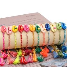 Go2boho Friendship Bracelet For Women Seashell Jewelry Turkish Evil Eye Bracelets Boho Shell Tassel Handmade Braided Pulseras