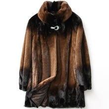 Шуба женская из натуральной кожи пальто средней длины меха норки