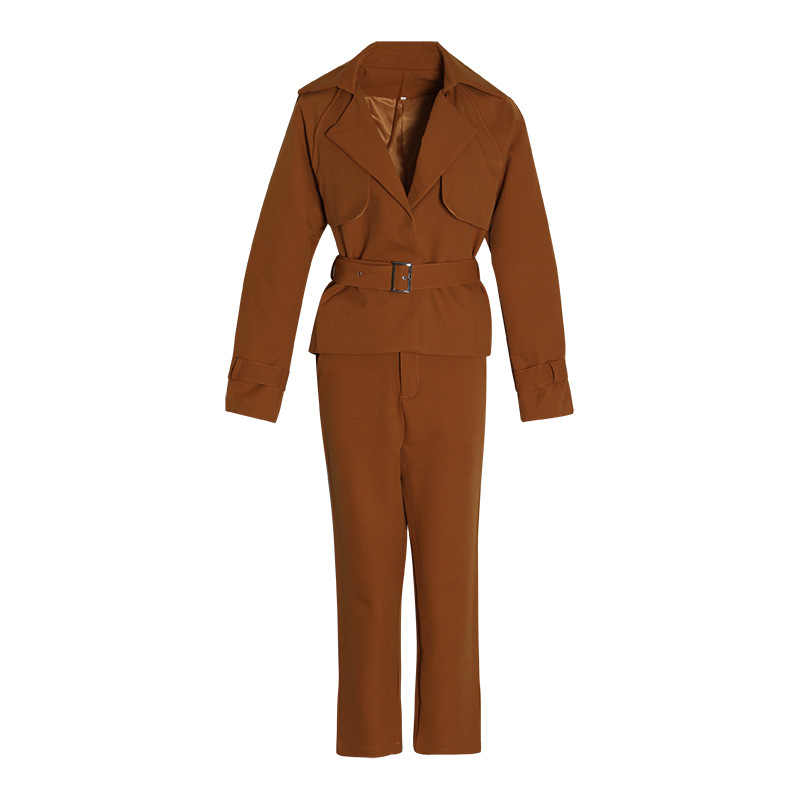 Free shipping  2019 new arrival women winter orange black high waist blazers and  trousers  two piece sets suits