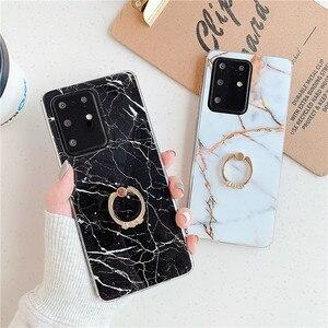 Глянцевый чехол с мраморным кольцом для Samsung Galaxy S20 Ultra A 50 30 20 10 S 51 31 71 A7 A6 2018 S10 S9 S8 Plus S7 Note 8 9