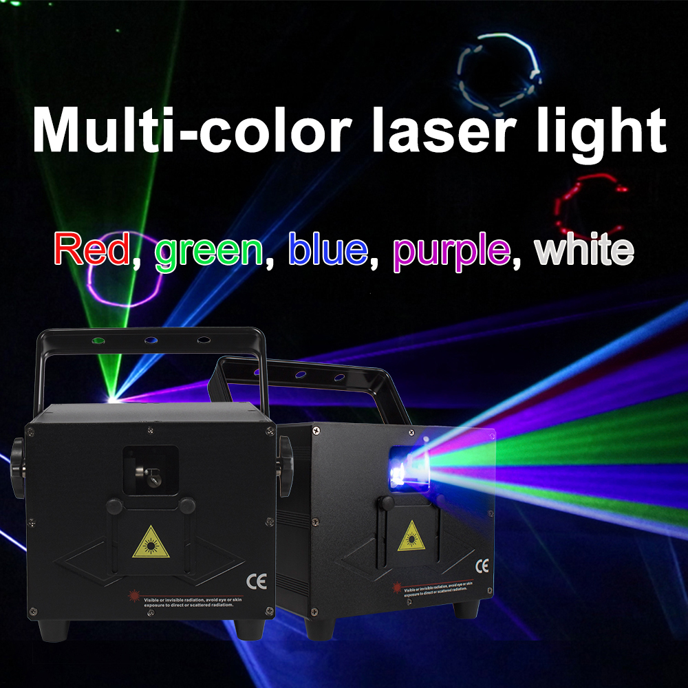 Projector Laser Light Disco Light Stage Light Music Light 3W RGB Animation Laser Light For DJ Party Disco Ball Control By DMX