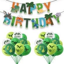 Decorações de festa de dinossauro dragão balões conjunto guirlanda papel para dino selva festa de aniversário decoração suprimentos crianças dos miúdos favores