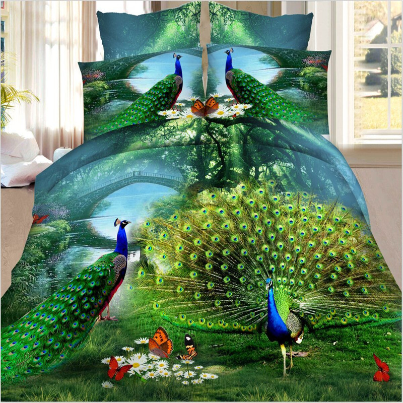 3D Bedclothes Bed Set Peacock Animal Flower Reactive Printed 4pcs Bedding Sets Bed Sheet Duver Cover Pillowecases Home Textile