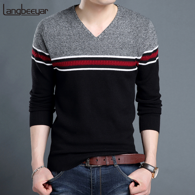 2019 New Fashion Brand Sweater For Mens Pullover V Neck Slim Fit Jumpers Knit Woolen Winter Korean Style Casual Men Clothes