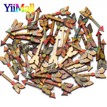 20 sztuk drewniany Ornament mieszane Retro wzór strzałki DIY rzemiosło dekoracji wnętrz Scrapbooking plastry drewna akcesoria 12x44mm tanie i dobre opinie YiiMall CN (pochodzenie) Drewniane opakowanie DIY