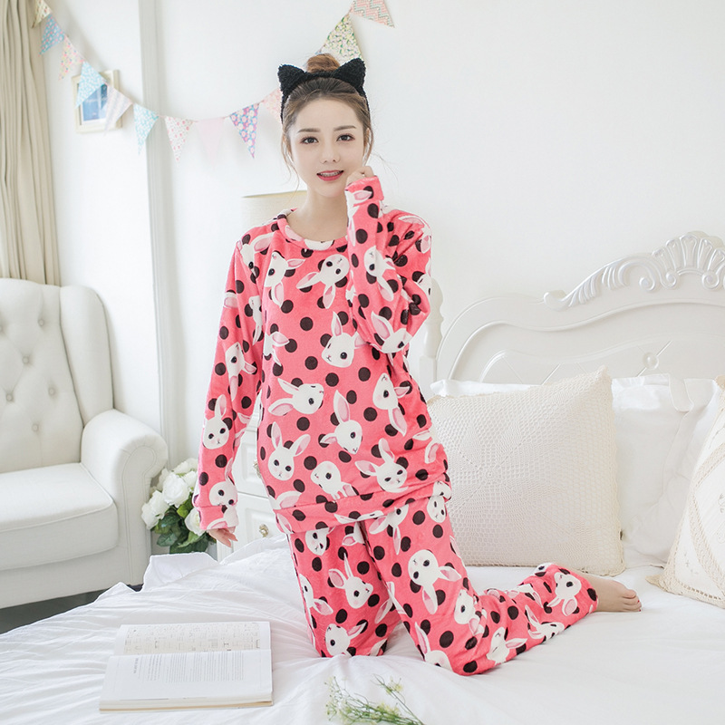Betyline 2019 New Winter Pajamas For Women Sleepwear Warm Flannel Long Sleeves Pajamas Cute Animal Homewear Thick Homewear 160