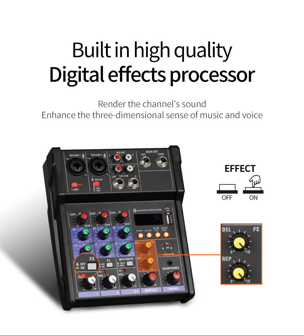 TKL 4 channel audio mixer console with wireless microphone sound mixing with Bluetooth USB mini dj mixer