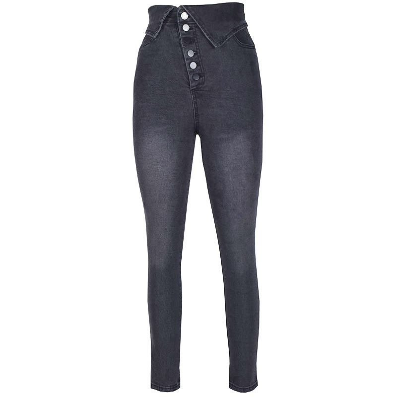 2019 autumn and winter new button stretch high waist lapel pencil ladies   jeans