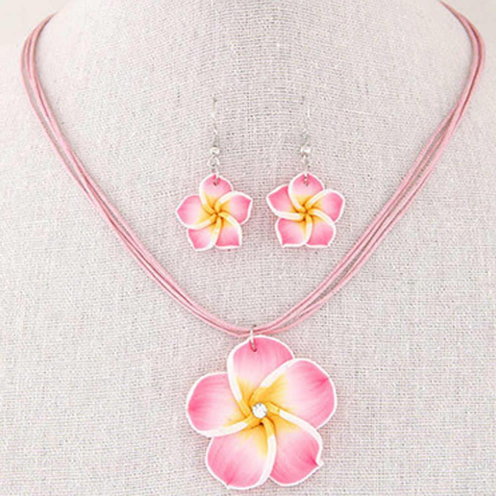 ฮาวายFrangipaniดอกไม้ชุดเครื่องประดับPolymer Clayต่างหูสร้อยคอจี้แฟชั่นCharmingคลาสสิกแฟชั่นและประณีต