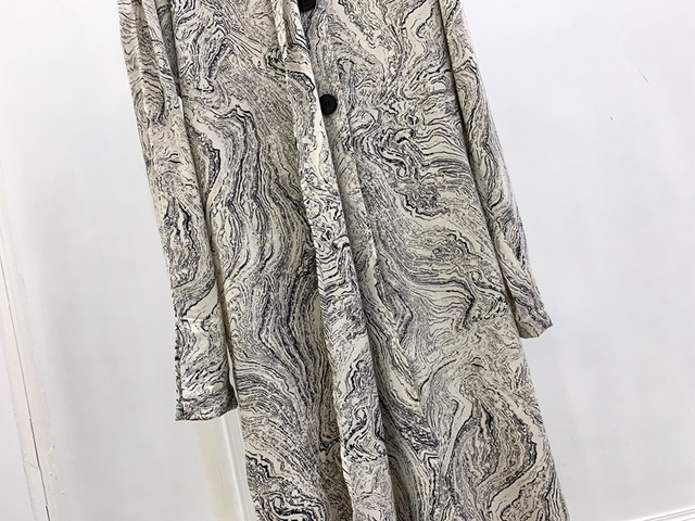 Silhouette Design Tie Shirt Dress Marble Print Mini Dress