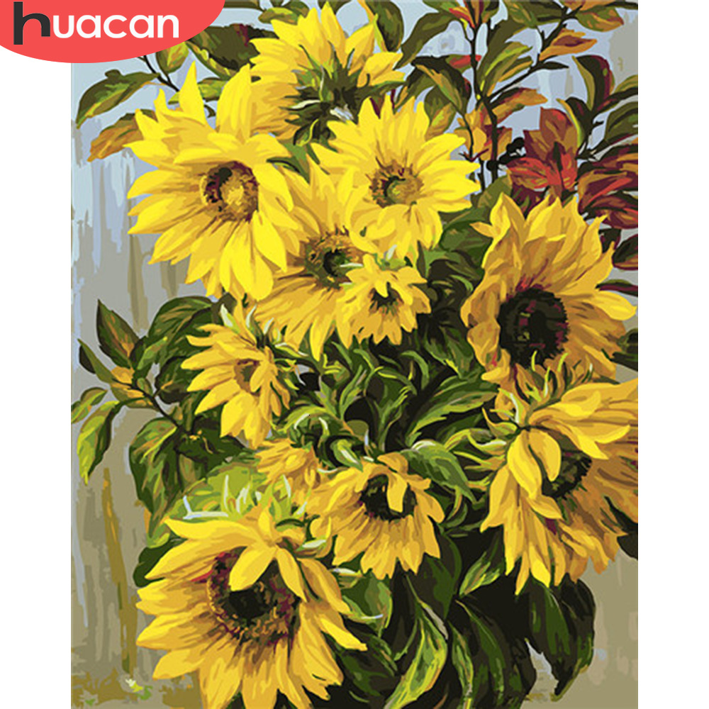 HUACAN Pictures By Numbers Sunflower Drawing On Canvas HandPainted Coloring Kits Art Gift DIY Oil Painting Home Decor