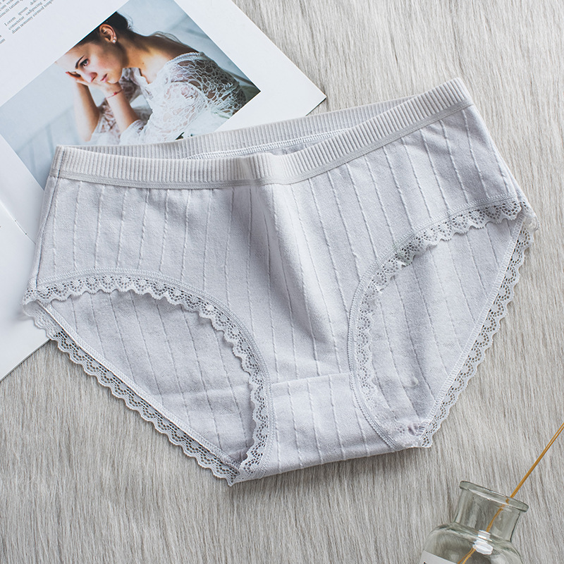 H7d7231376b894ab2a87479f3221c5fefZ Bragas de algodón a rayas bragas a media cintura ropa interior Sexy encaje de mujer Lencería ropa interior transpirable Antibacterial íntimos femeninos