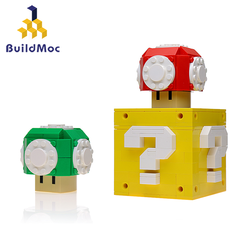 BuildMOC 15826 аниме Power Up грибы и коробка вопросов, строительные блоки, сделай сам, кирпичи, игрушки для детей