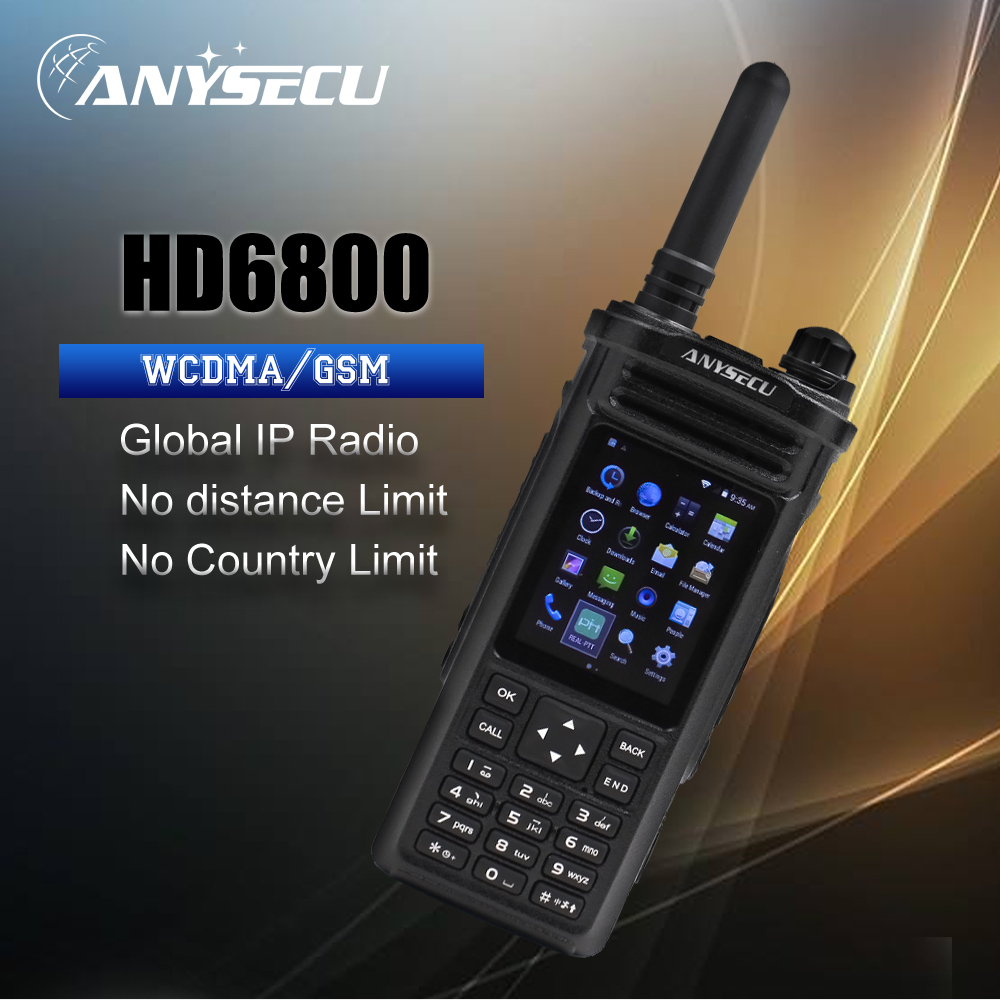 HD6800Plus 3G WCDMA GSM Network Walkie Talkie Phone Big PTT 4800mAh GPS Bluetooth Function Work With Zello PTT