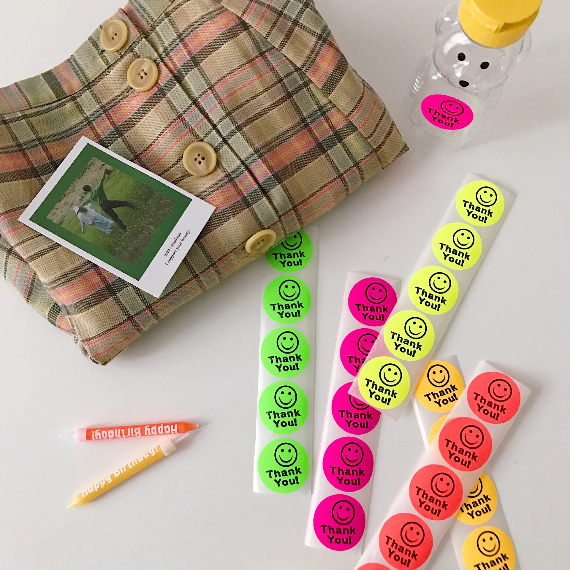 25PCS Cute Smiley Face Fluorescent Stickers DIY Scrapbooking Album Diary Happy Planner Week Decorative Seal Sticker