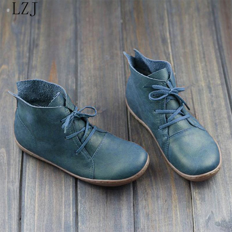 Women Genuine Leather Ankle Boots Ladies Retro Shoes Woman Flats Lace Up Lightweight Soft Bottom Sewing Women's Shoes Sneakers