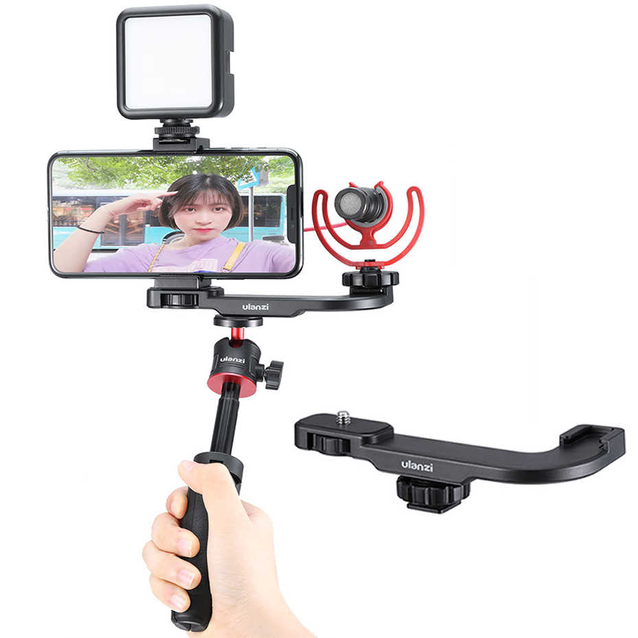 Camera Video Filmmaking Smarphone Vlog Accessory for iPhone Nikon Canon Sony DSLR Camera Cold Shoe Bracket Extension Bar 2 Hot Shoe Mounts for LED Video Light Microphone Stand