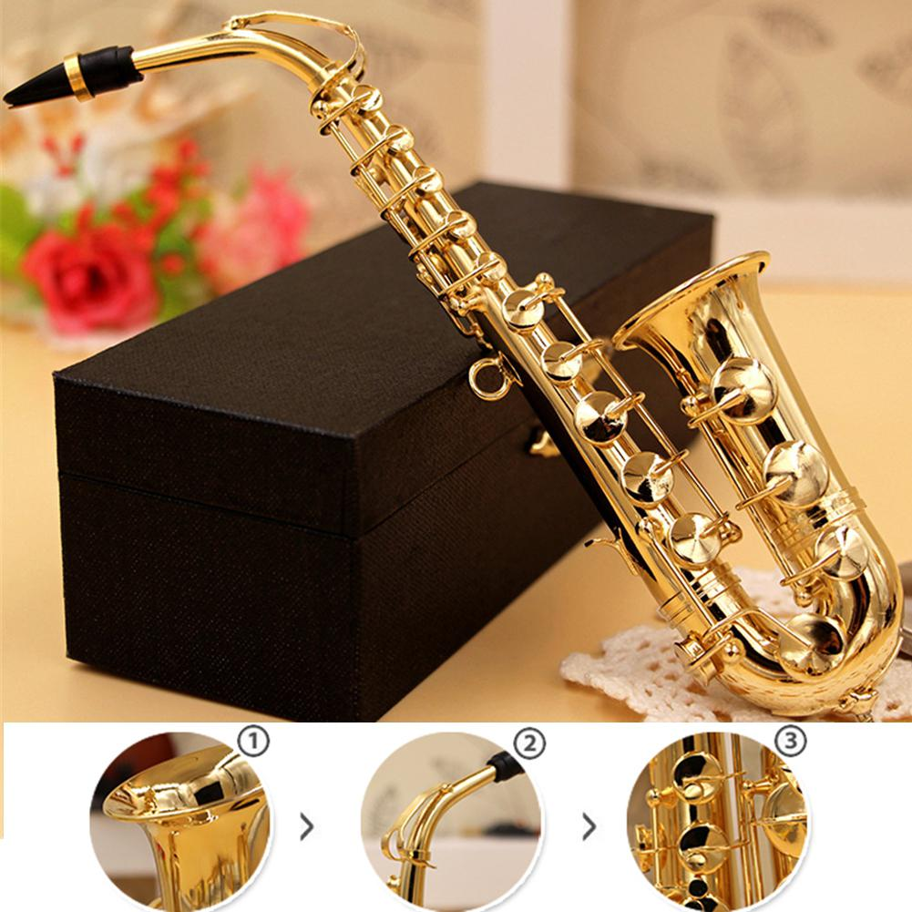 Mini Saxophone Model Musical Instrument Copper Brooch Miniature Desk Decor Display With Box + Bracket  For Home Decoration Gift