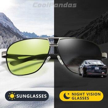Unissex alumínio magnésio hd photochromic polarizado óculos de sol homem amarelo dia noite condução masculino oculos óculos anti-reflexo gafas