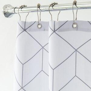 Image 3 - Aimjerry rideau de douche en tissu pour baignoire blanc et gris, pour salle de bain, avec 12 crochets, 71W x 71H, imperméable et anti moisissures de haute qualité 041